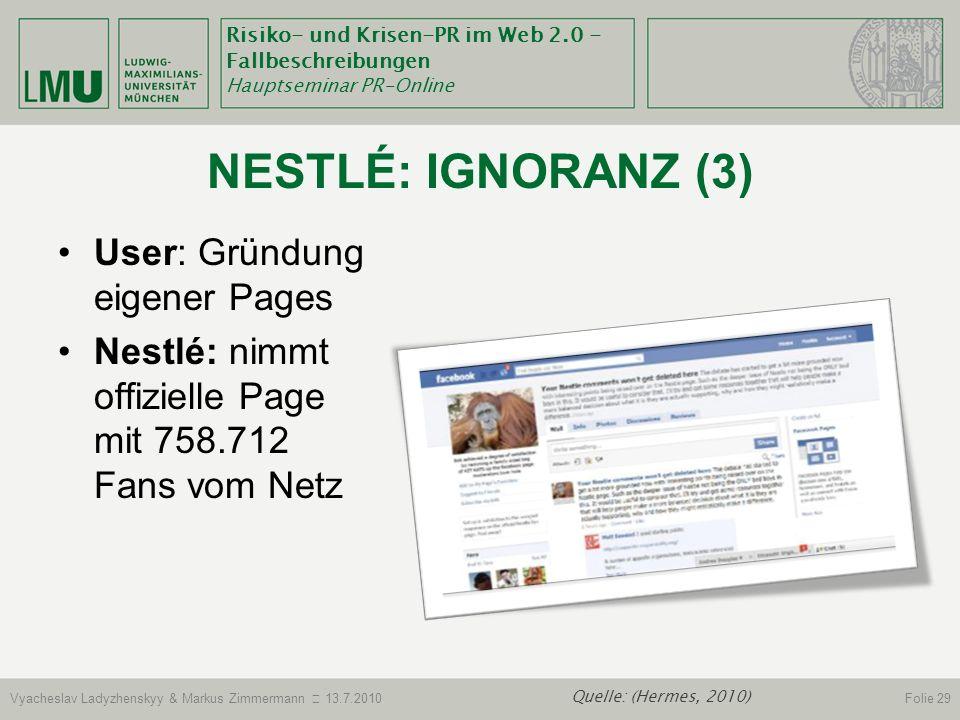 Nestlé: Ignoranz (3) User: Gründung eigener Pages