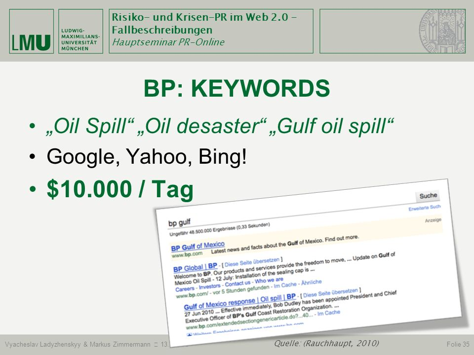 "BP: Keywords $10.000 / Tag ""Oil Spill ""Oil desaster ""Gulf oil spill"