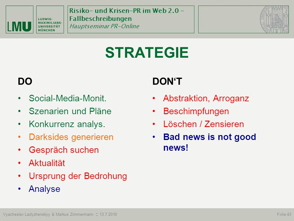 STRATEGIE DO DON'T Social-Media-Monit. Szenarien und Pläne