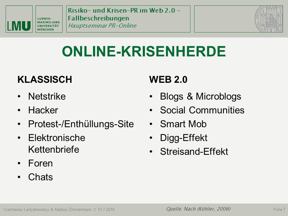 Online-Krisenherde Klassisch Web 2.0 Netstrike Hacker