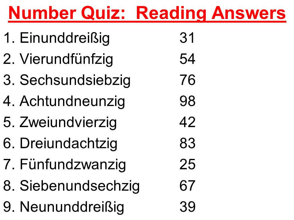 Number Quiz: Reading Answers