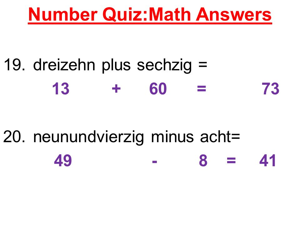 Number Quiz:Math Answers
