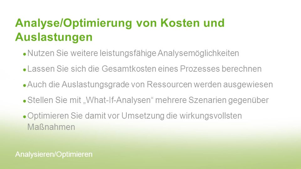Analyse/Optimierung von Kosten und Auslastungen