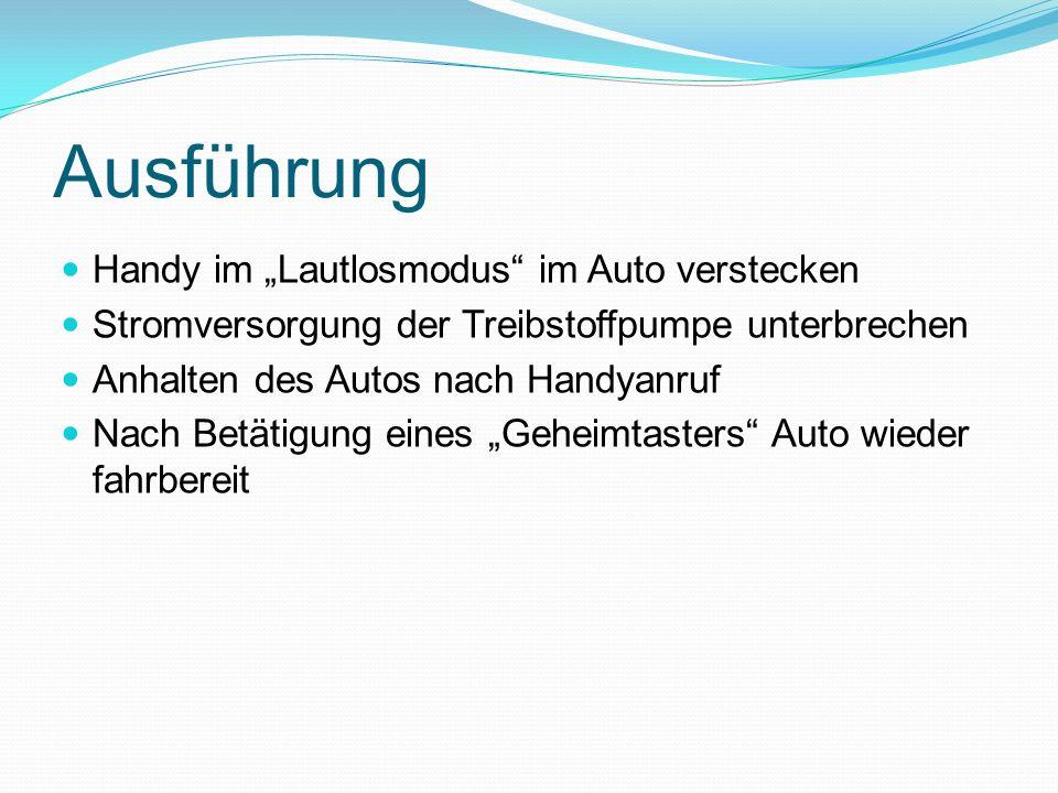 """Ausführung Handy im """"Lautlosmodus im Auto verstecken"""