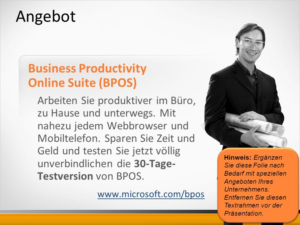Angebot Business Productivity Online Suite (BPOS)