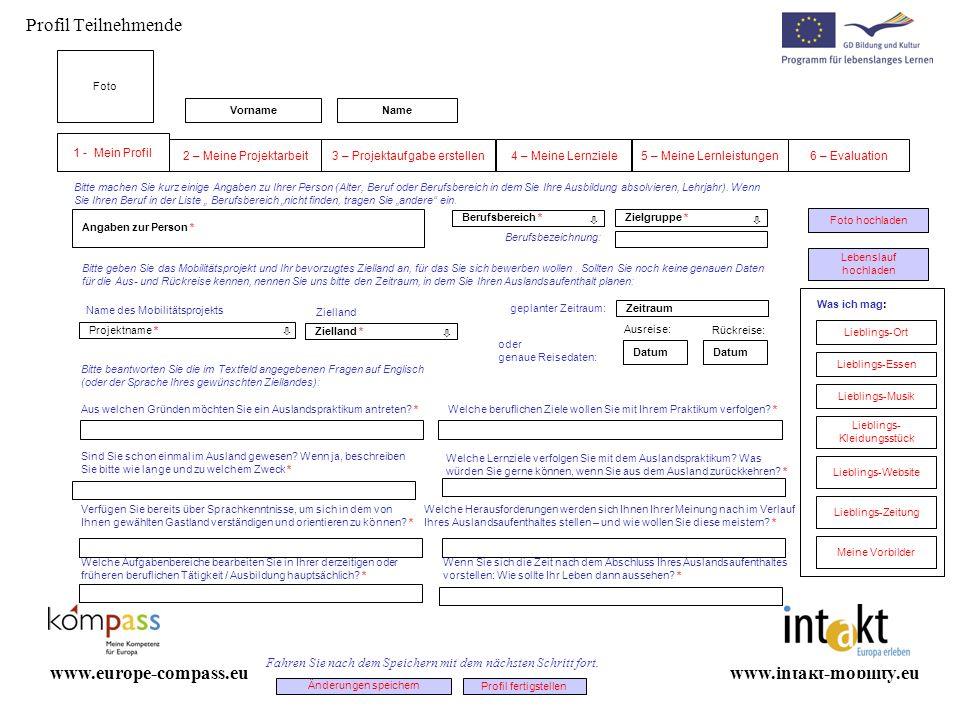 Profil Teilnehmende www.europe-compass.eu www.intakt-mobility.eu