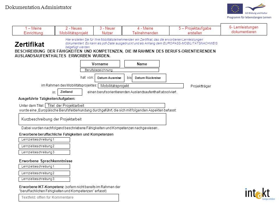 Zertifikat Dokumentation Administrator 6- Lernleistungen dokumentieren