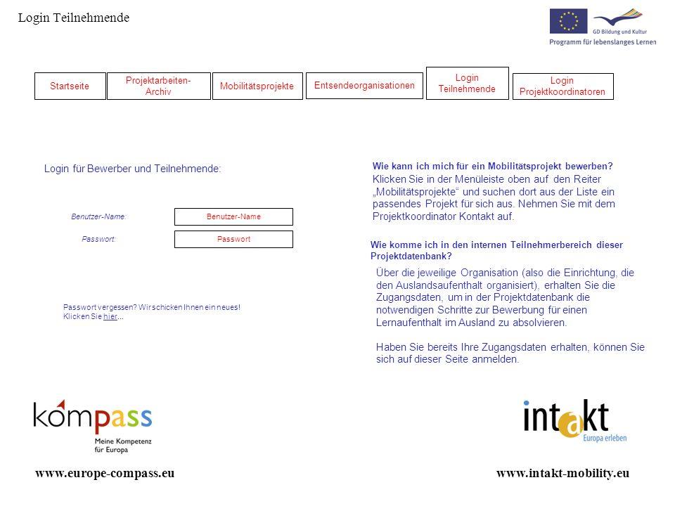 Login Teilnehmende www.europe-compass.eu www.intakt-mobility.eu