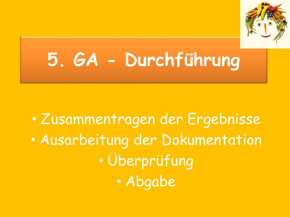 5. GA - Durchführung Zusammentragen der Ergebnisse