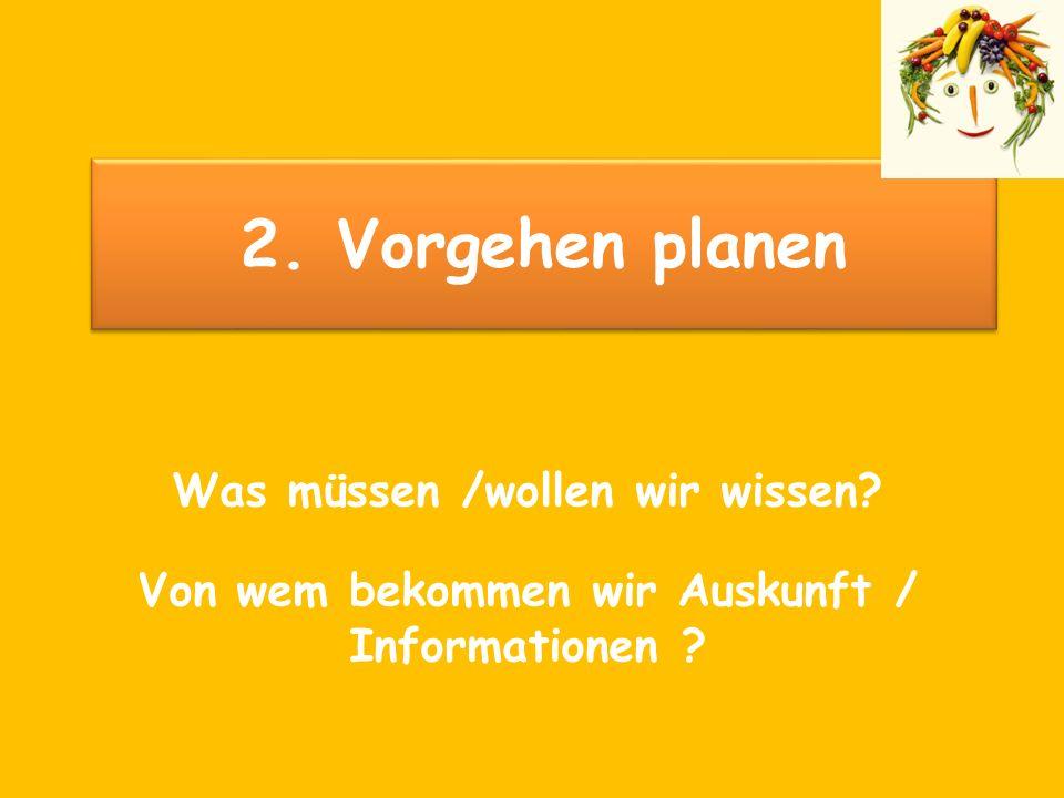 2. Vorgehen planen Was müssen /wollen wir wissen