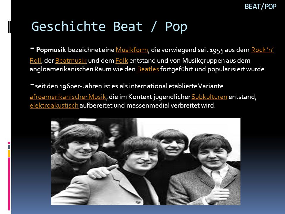 BEAT/POP Geschichte Beat / Pop.