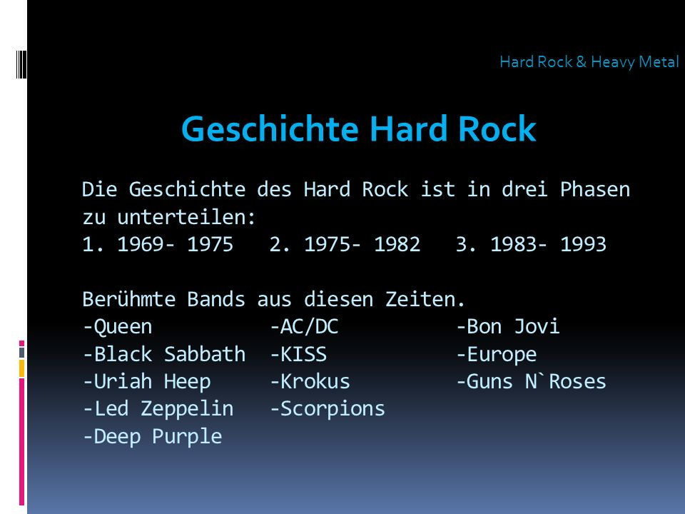 Hard Rock & Heavy Metal Geschichte Hard Rock.