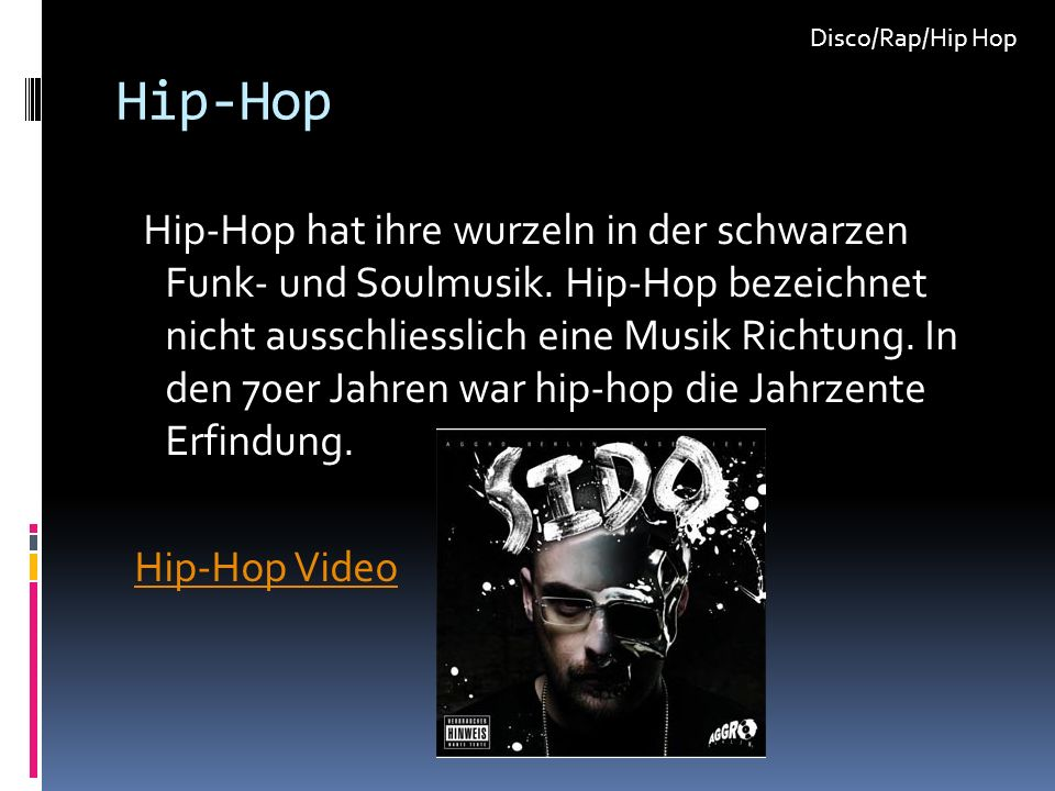 Disco/Rap/Hip Hop Hip-Hop.