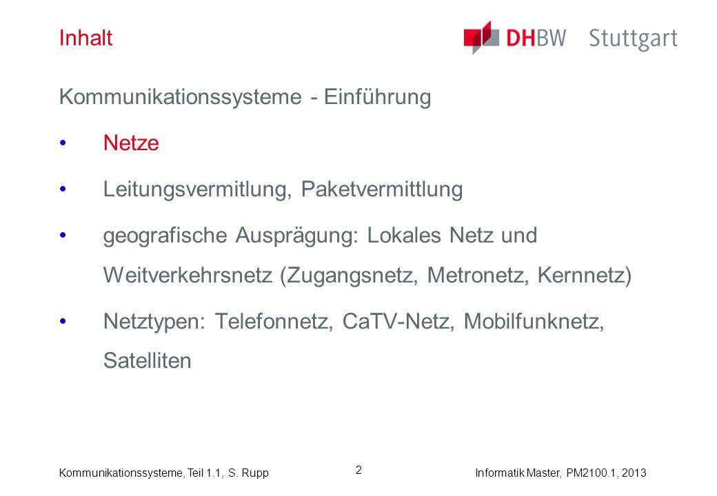 Inhalt Kommunikationssysteme - Einführung. Netze. Leitungsvermitlung, Paketvermittlung.