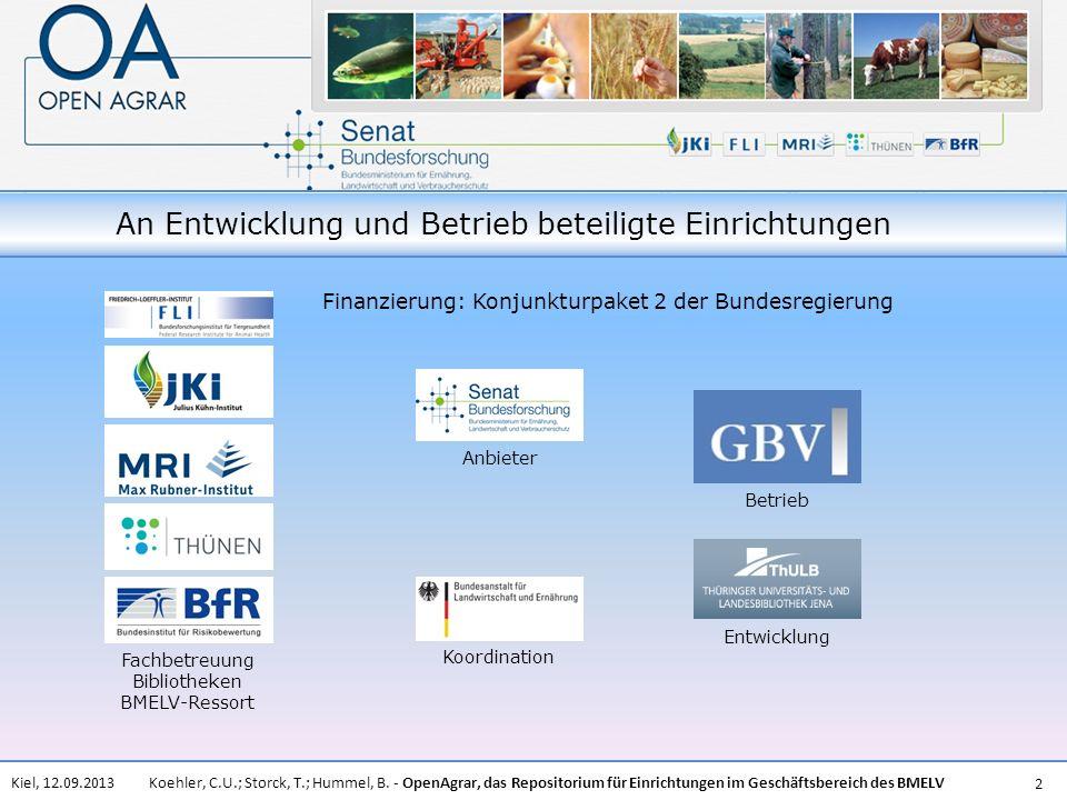 An Entwicklung und Betrieb beteiligte Einrichtungen