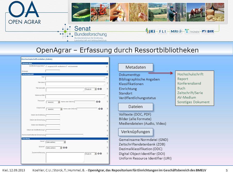 OpenAgrar – Erfassung durch Ressortbibliotheken