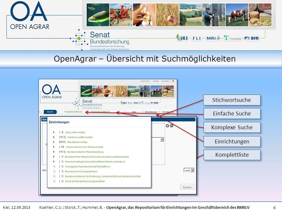 OpenAgrar – Übersicht mit Suchmöglichkeiten