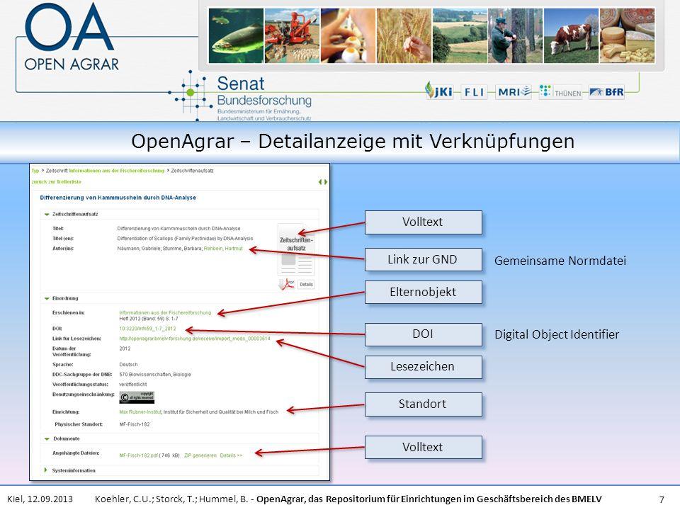 OpenAgrar – Detailanzeige mit Verknüpfungen