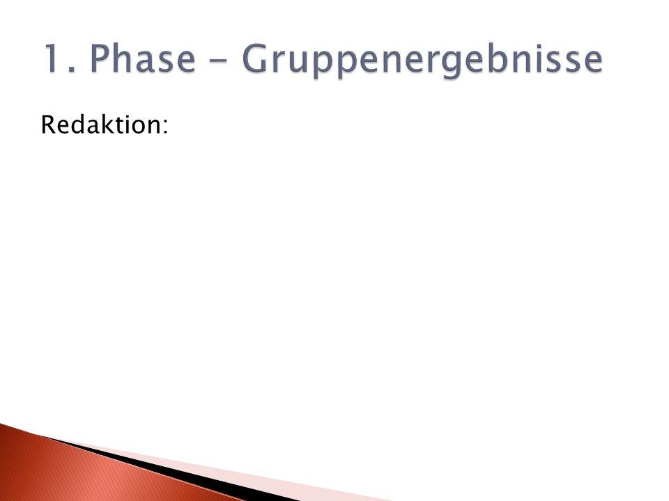 1. Phase - Gruppenergebnisse