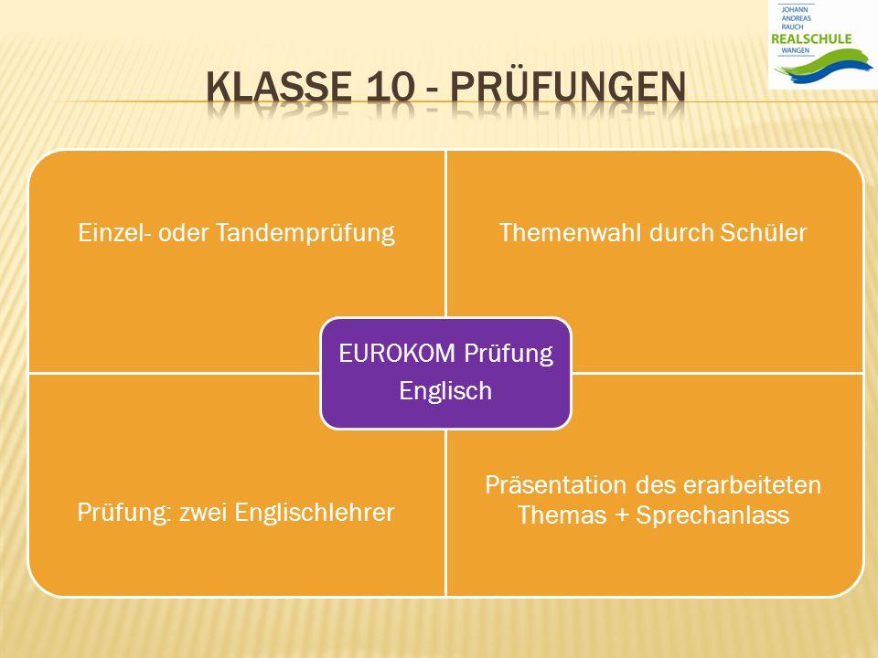Klasse 10 - prüfungen EUROKOM Prüfung Englisch