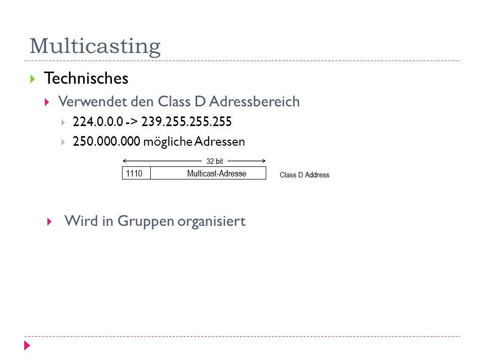 Multicasting Technisches Verwendet den Class D Adressbereich