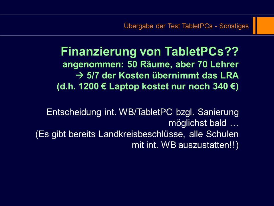 Finanzierung von TabletPCs