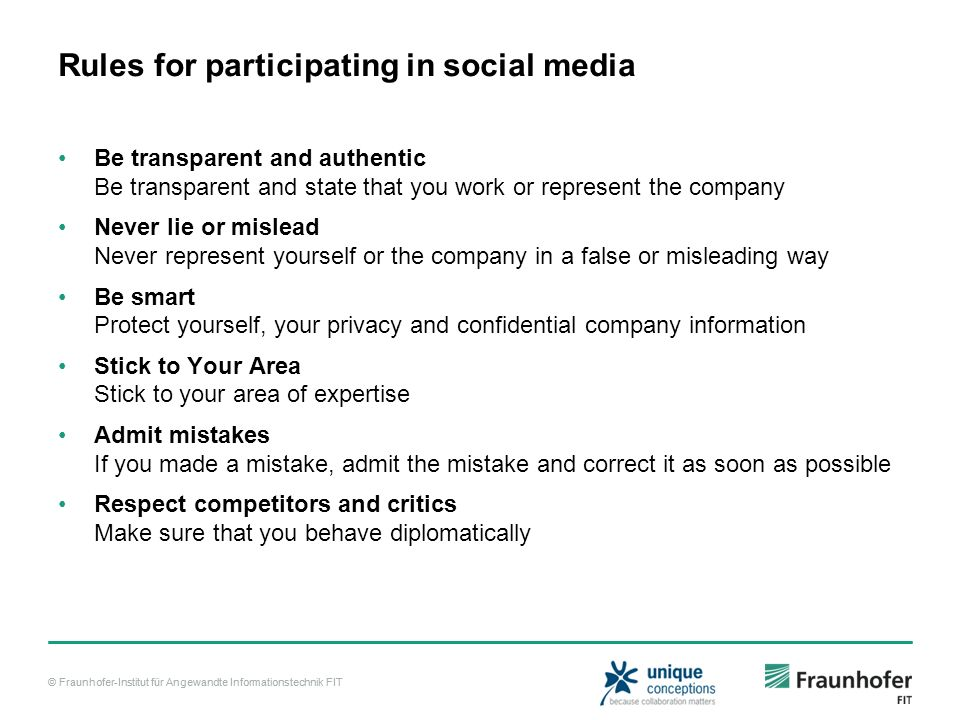 Rules for participating in social media