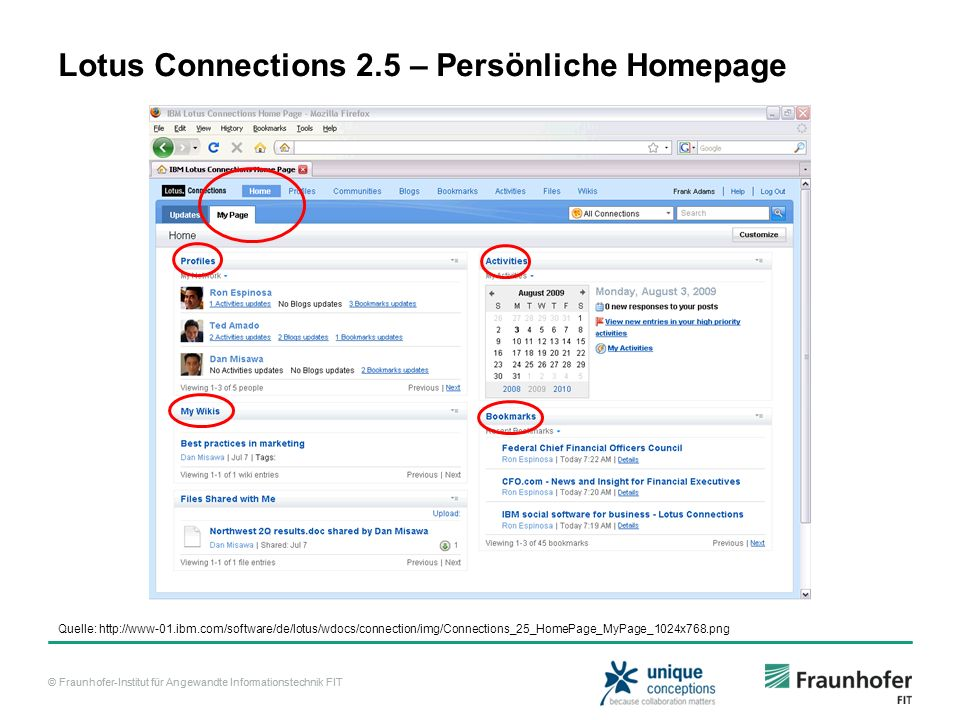 Lotus Connections 2.5 – Persönliche Homepage