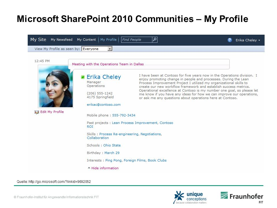 Microsoft SharePoint 2010 Communities – My Profile