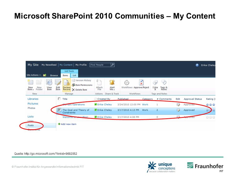 Microsoft SharePoint 2010 Communities – My Content