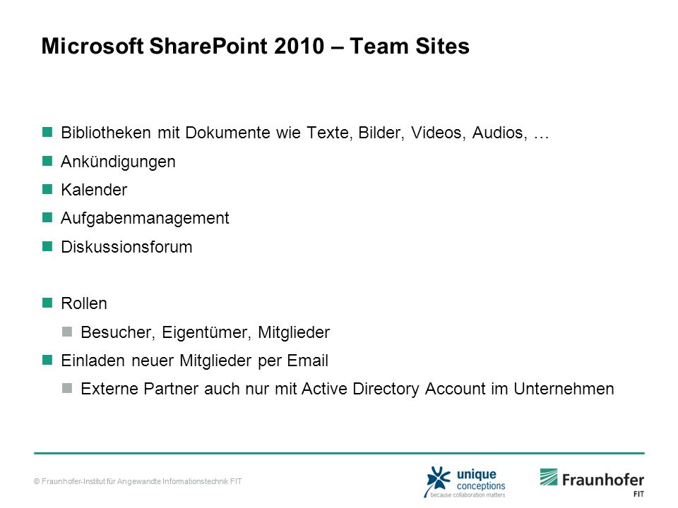 Microsoft SharePoint 2010 – Team Sites