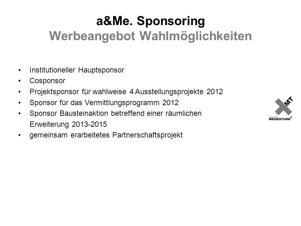 a&Me. Sponsoring Werbeangebot Wahlmöglichkeiten