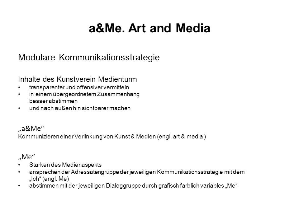 "a&Me. Art and Media Modulare Kommunikationsstrategie ""a&Me ""Me"