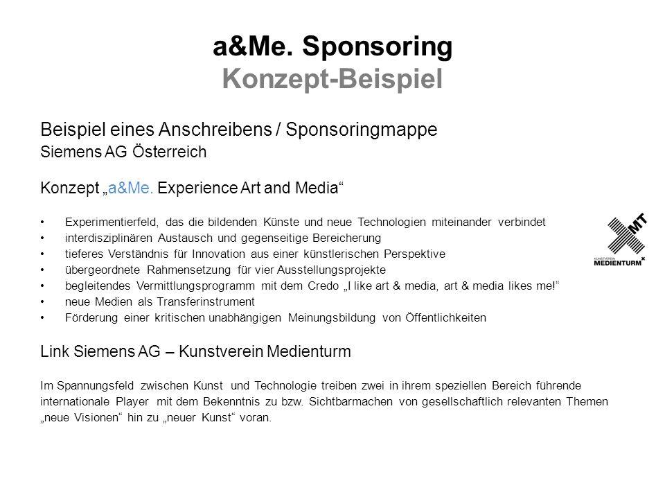 a&Me. Sponsoring Konzept-Beispiel