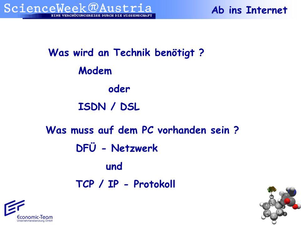 Ab ins Internet Was wird an Technik benötigt Modem. oder. ISDN / DSL. Was muss auf dem PC vorhanden sein