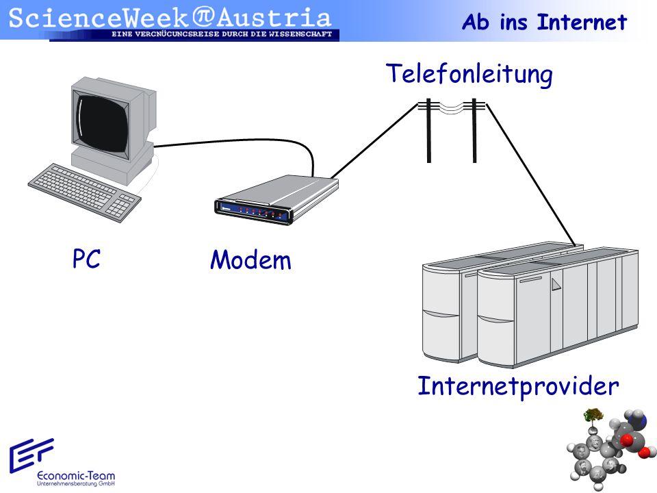 Ab ins Internet Telefonleitung PC Modem Internetprovider