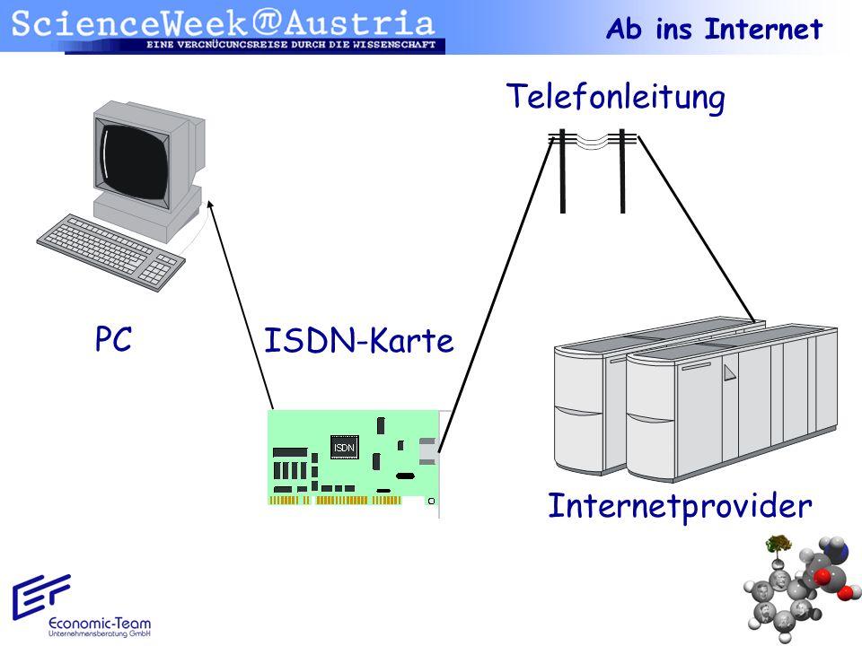 Ab ins Internet Telefonleitung PC ISDN-Karte Internetprovider