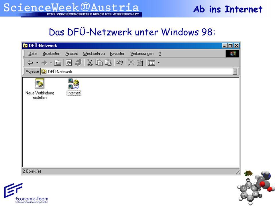 Das DFÜ-Netzwerk unter Windows 98: