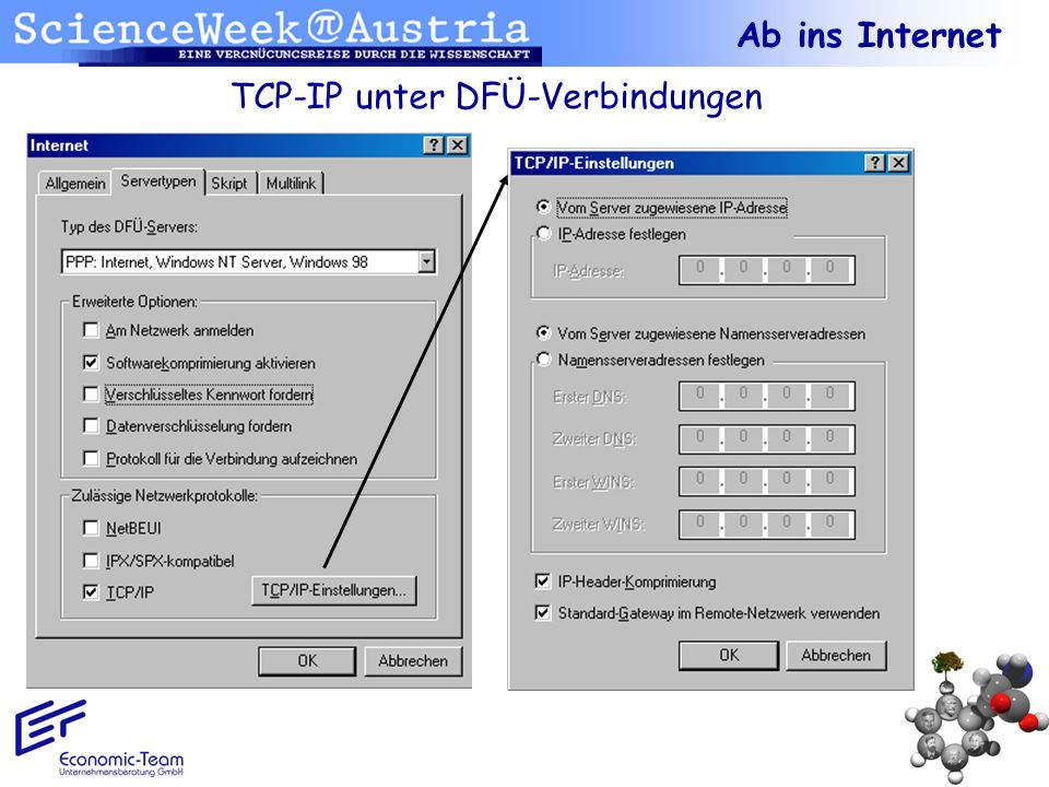 TCP-IP unter DFÜ-Verbindungen