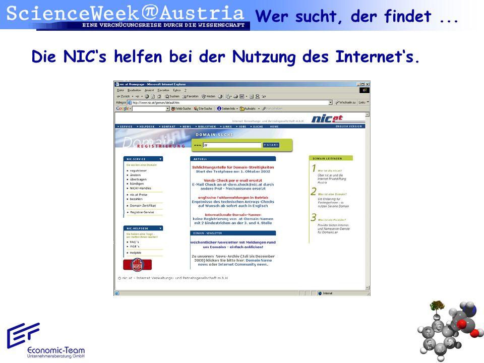Wer sucht, der findet ... Die NIC's helfen bei der Nutzung des Internet's.