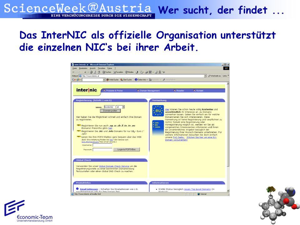 Wer sucht, der findet ...Das InterNIC als offizielle Organisation unterstützt die einzelnen NIC's bei ihrer Arbeit.
