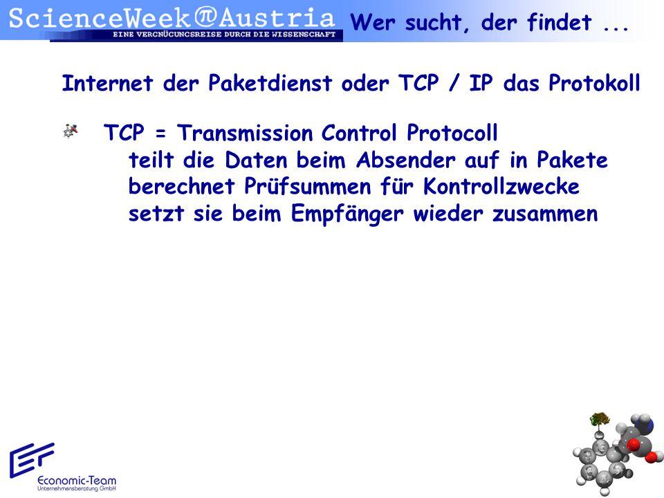 Wer sucht, der findet ...Internet der Paketdienst oder TCP / IP das Protokoll.