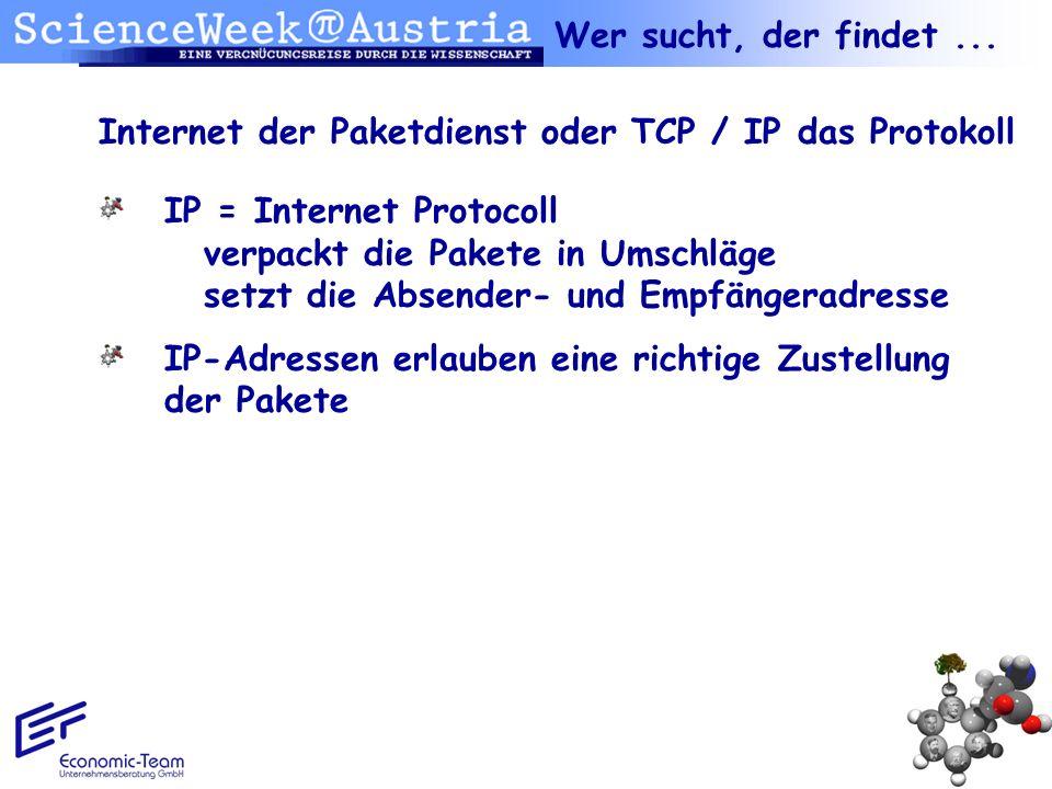 Wer sucht, der findet ... Internet der Paketdienst oder TCP / IP das Protokoll.