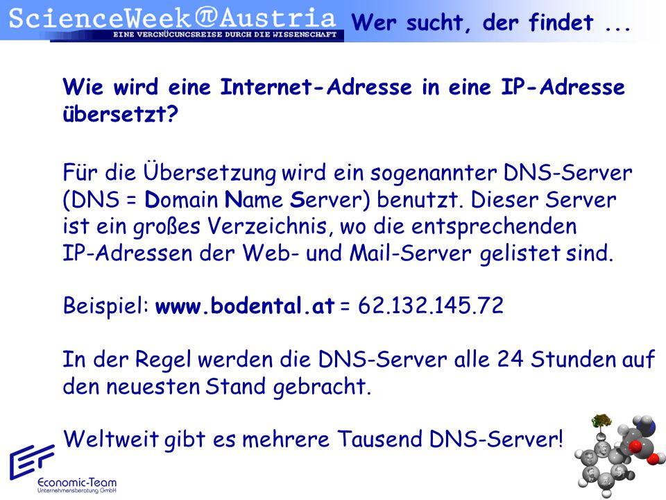 Wer sucht, der findet ... Wie wird eine Internet-Adresse in eine IP-Adresse übersetzt