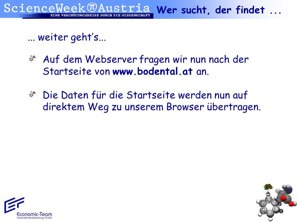 Wer sucht, der findet ... ... weiter geht's... Auf dem Webserver fragen wir nun nach der Startseite von www.bodental.at an.