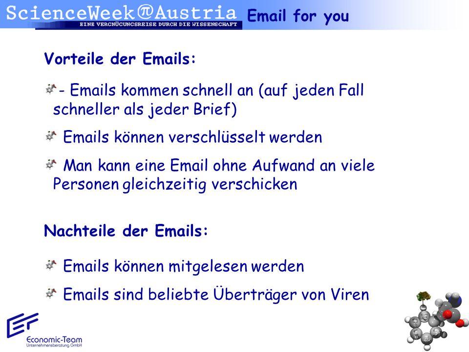 Email for you Vorteile der Emails: - Emails kommen schnell an (auf jeden Fall schneller als jeder Brief)