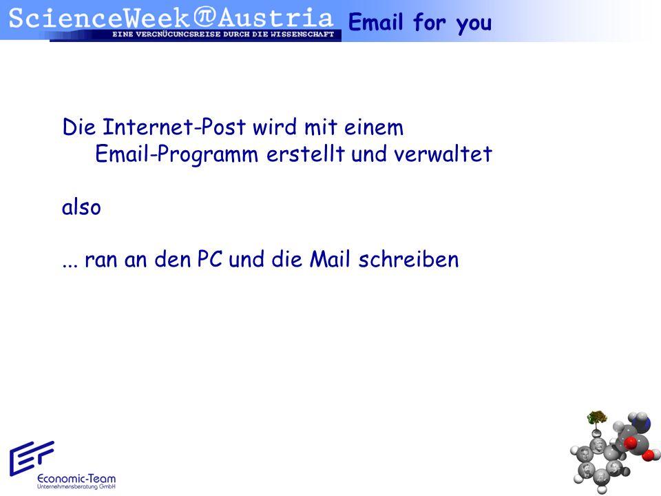 Email for you Die Internet-Post wird mit einem Email-Programm erstellt und verwaltet.