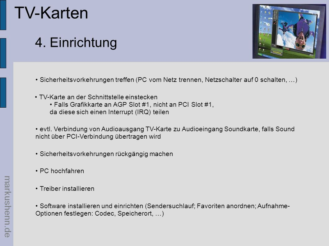 TV-Karten 4. Einrichtung markushenn.de