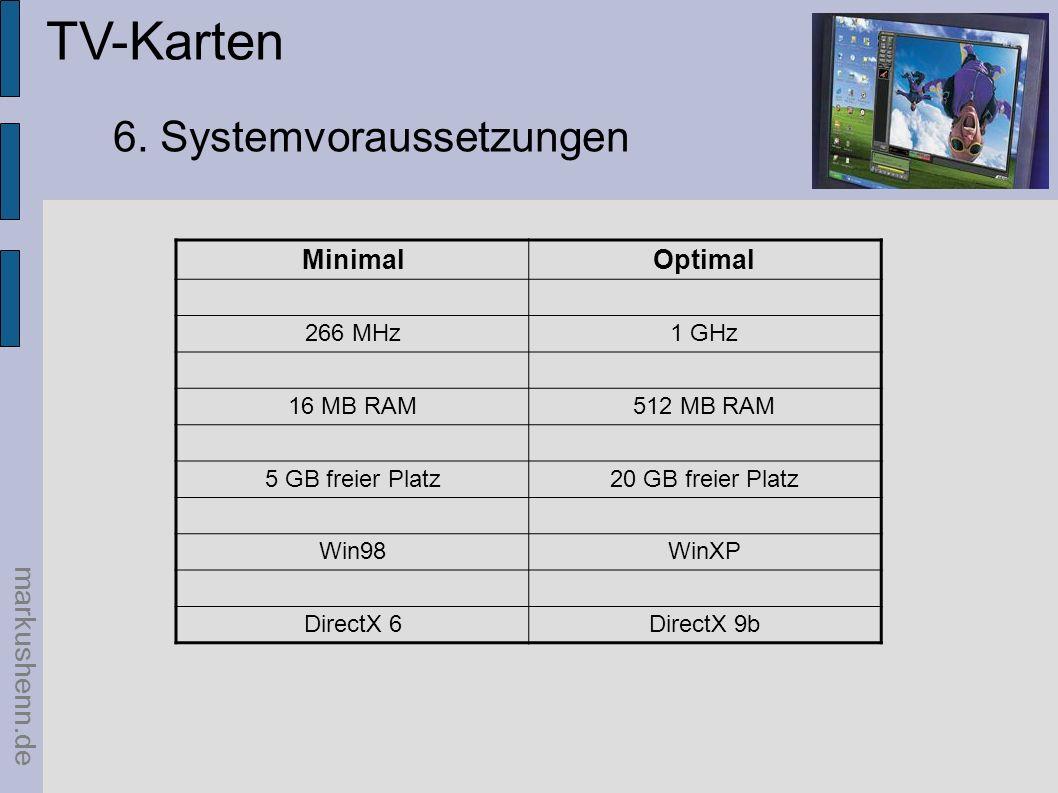 TV-Karten 6. Systemvoraussetzungen markushenn.de Minimal Optimal