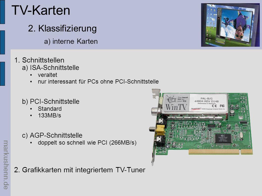 TV-Karten 2. Klassifizierung a) interne Karten Schnittstellen